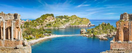 Welcome to Taormina concept. Panoramic collage with ruins of ancient Greek theatre and Isola Bella in Taormina, Italy.