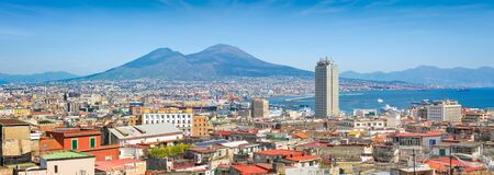Panoramic view of Naples, sea port in Gulf of Naples and Mount Vesuvius, Campania region, Italy.