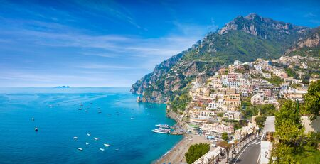 Panoramic view of beautiful Positano with comfortable beaches and clear blue sea on Amalfi Coast in Campania, Italy. Amalfi coast is popular travel and holyday destination in Europe. Reklamní fotografie