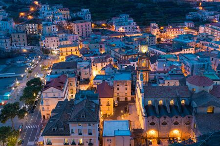 Night aerial view of centre of Minori, attractive seaside town at centre of Amalfi Coast, province of Salerno, in Campania region of south-western Italy.