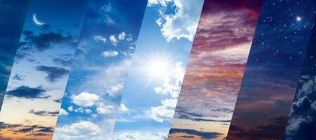 Verschiedene Tageszeiten: Morgendämmerung und Sonnenuntergang, Tag und Nacht. Konzept des kontinuierlichen Flusses von Zeit und Einheit und Kampf der Gegensätze Standard-Bild