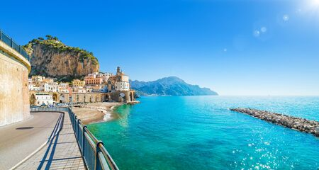 Road leading along Amalfi coast to small town Atrani in province of Salerno, Campania region, Italy. Amalfi coast is popular travel and holyday destination in Italy.