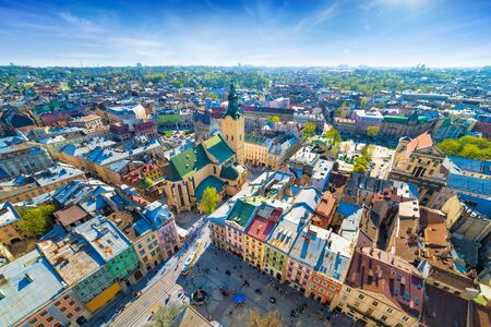 Wide angle aerial view of colourful houses in historical old district of Lviv, Ukraine. Lviv is one of main cultural centres and largest city and in western Ukraine.