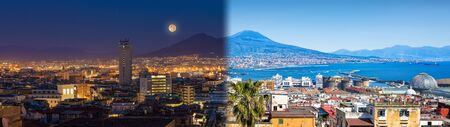 Panoramic collage with Mount Vesuvius, Naples and Bay of Naples, Italy. Opposites in nature: day and night, light and darkness.