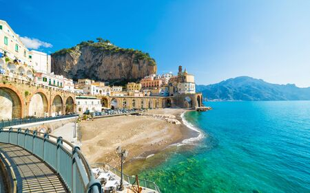 Beach in small town Atrani in province of Salerno, Campania region, Italy. Amalfi coast is popular travel and holyday destination in Italy.