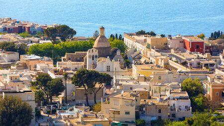 Aerial view of Chiesa di Santa Sofia or Santa Sofia Church located in Piazza of Anacapri, on Capri Island, Italy