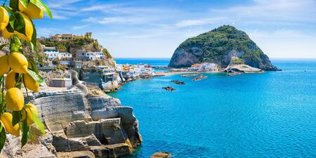 Rocky coast of Sant'Angelo, giant green rock in blue sea near Ischia Island, Italy. Sant'Angelo is small village within comune of Serrara Fontana, Ischia. Bunches of yellow lemons on foreground. Foto de archivo