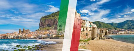 Panoramic collage with itaian flag, sandy beach and blue sea in Cefalu located on Tyrrhenian coast of Sicily, Italy. Cefalu is popular travel destination in Europe.