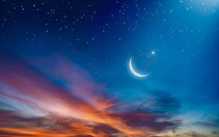Ramadan background with crescent, stars and glowing clouds with ray from skies. Month of Ramadan is that in which was revealed Quran.