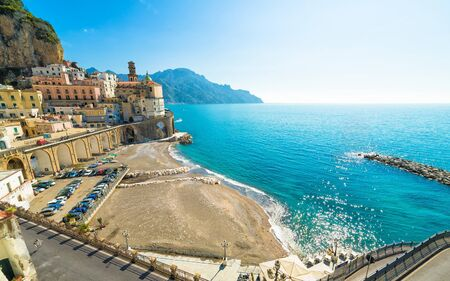 Deserted beach of small town Atrani on Amalfi Coast in province of Salerno, Campania region, Italy. Amalfi coast is popular travel and holyday destination in Italy.
