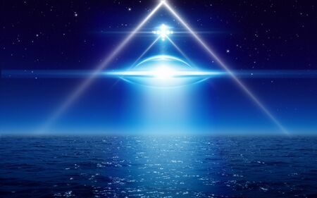 Dark mysterious sci-fi image – ufo or flying saucer with bright spotlight fly above sea, alien civilization spaceship in night sky with bright stars.