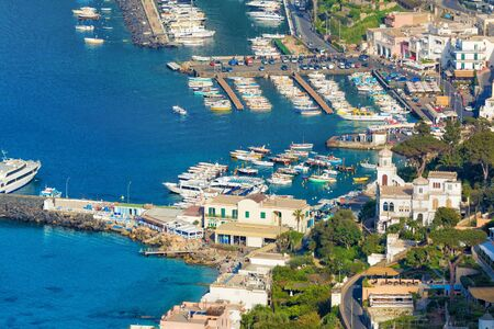 Aerial view of Marina Grande, Capri island, Italy. Island of Capri is situated 5 km from mainland in Bay of Naples.