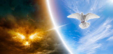 Religious image - heaven and hell, good and evil, light and darkness. Holy spirit bird descends from skies, bright light shines from heaven, white dove is symbol of love and peace