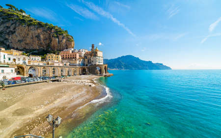 Daylight view of small town Atrani on Amalfi Coast in province of Salerno, in Campania region of Italy. Amalfi coast is popular travel and holyday destination in Italy. 免版税图像