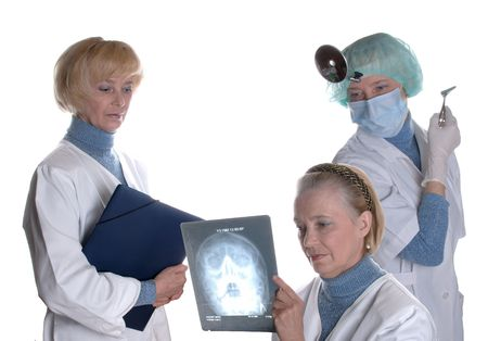 Three identical doctors have consultation about x-ray picture of patients head photo