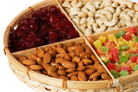 Dry fruits and nuts in the basket photo