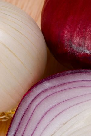 Half of red onion, the whole white and red ones Stock Photo - 2727778