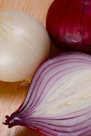 Half of red onion, the whole white and red ones Stock Photo - 2727775