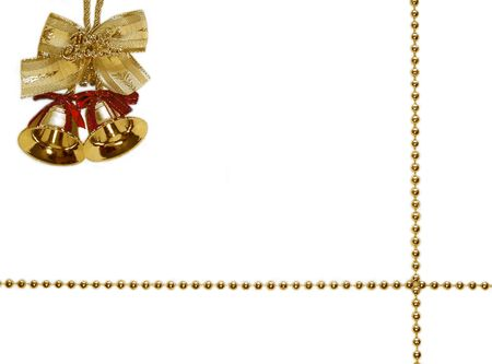 two golden decoration bells  isolated on white Stock Photo
