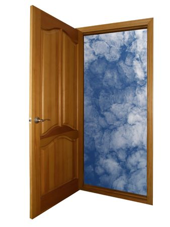 opened wooden door and heaven isolated on white with clipping path
