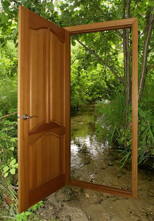 opened wooden door and forest  isolated with clipping path