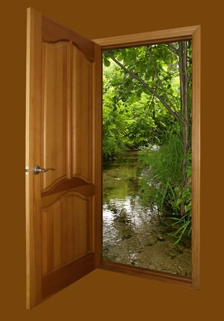 opened wooden door and forest spring  isolated on brown with clipping path Stock Photo