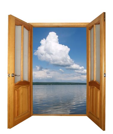 opened two-leaf wooden door and cloudy landscape isolated with clipping path Stock Photo - 692442