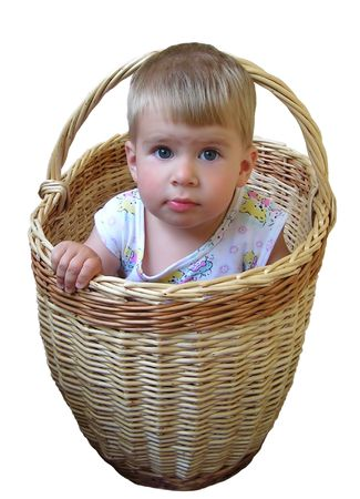 little boy sitting in basket isolated on white with clipping path Stock Photo