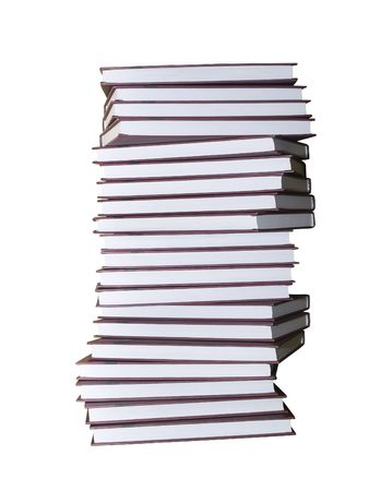 encyclopaedia books pile isolated on white with clipping path