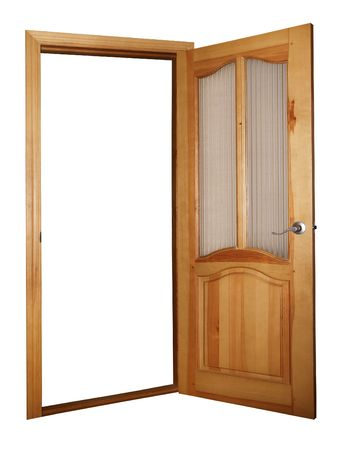 wooden and glass door isolated on white with clipping path Stock Photo