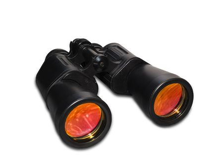 black binoculars coloured glasses isolated on white with clipping path