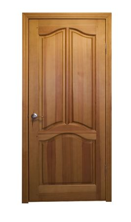 closed wooden door isolated on white with clipping path