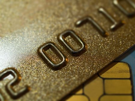 bankcard: golden credit cards close-up shallow depth of field