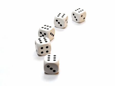 plastic white dice with 6s on top isolated on white