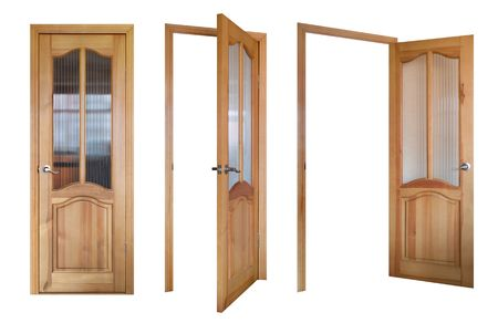 wooden and glass door three view isolated on white Stock Photo