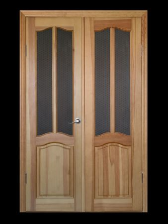 two-leaf wooden and glass door isolated on black
