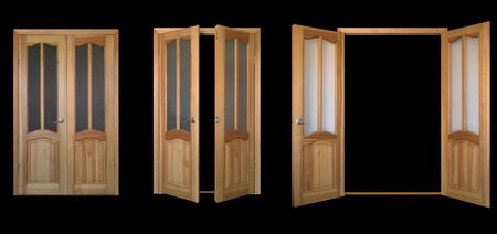 two-leaf door isolated over black three view
