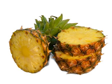close-up of sliced pineapple isolated on white Stock Photo