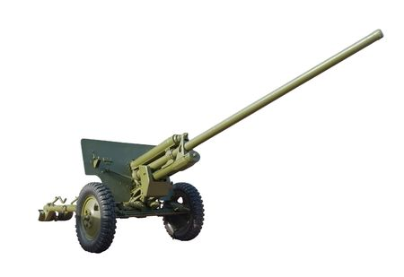 russian anti-tank artillery isolated on white. clipping path