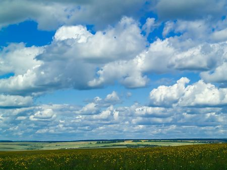 summer landscape with green meadow and blue cloudy sky Stock Photo - 1354580