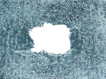crashed blue toned glass closeup isolated on white Stock Photo