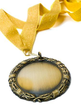 Goldmedaille �ber isolierte wei�. shallow DOF Lizenzfreie Bilder