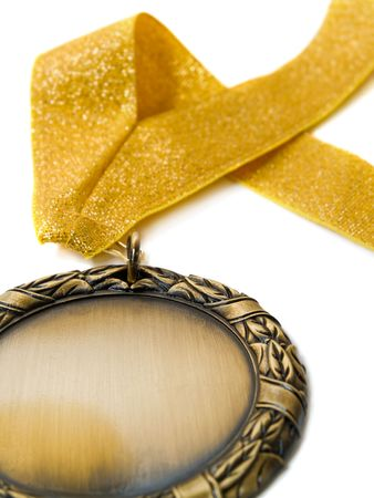 gold medal isolated over white. shallow dof Stock Photo