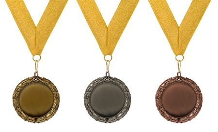 threee medals isolated over white. gold silver bronze Stock Photo