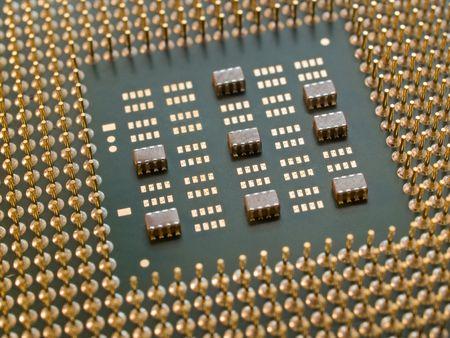 processor with golden pins closeup. shallow dof