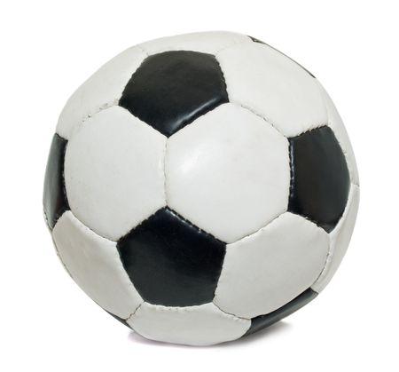 Fu�ball Ball �ber isolierte wei�en Hintergrund. verwendet  Lizenzfreie Bilder