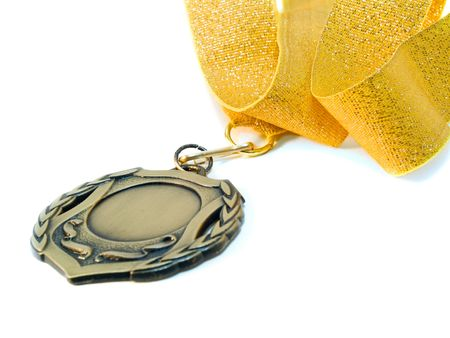 medal and ribbon close-up. isolated over white. shallow dof photo