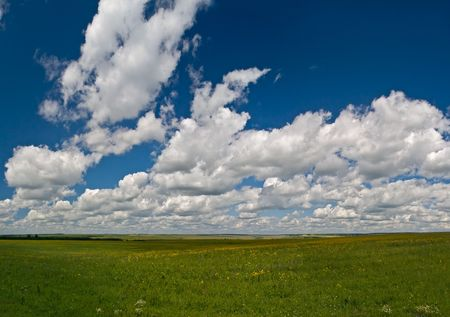 summer landscape with green grass, blue sky and clouds Stock Photo