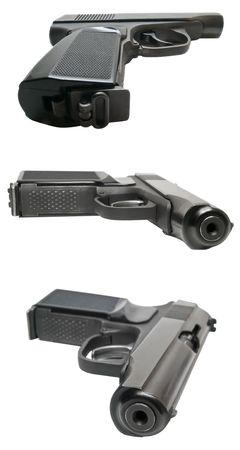 gun isolated on white three view shallow dof