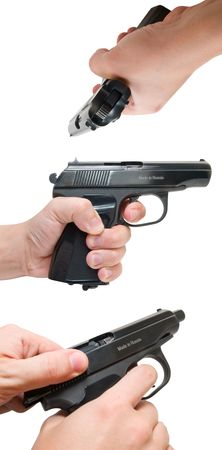 finger on trigger: hand with gun isolated on white three view